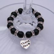 Thank You Wine Glass Charm - Full Sparkle Style